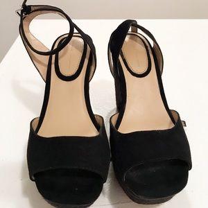 Zara Black Peep Toe Espadrilles Sandals